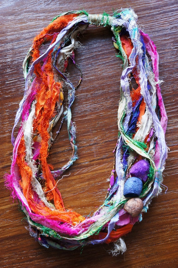 Handmade necklace with recycled silk ribbon and hand dyed silk cocoons
