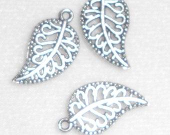 Silver Leaf Charms