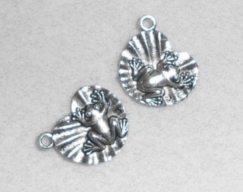 Silver Frog on Lily Pad Charms