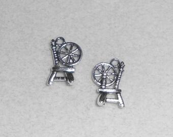 Silver Yarn Spinning Wheel Charms