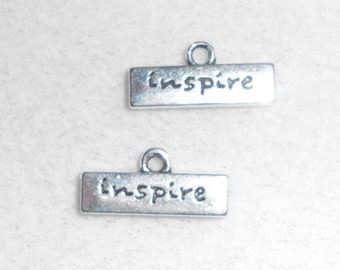 "Silver ""Inspire"" saying Charms"