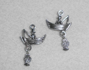 Silver Nautical Boat with Fish Charms