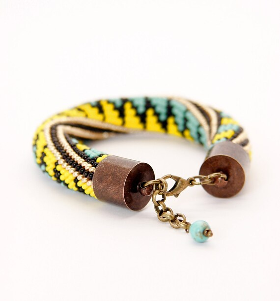 crochet rope bracelet. turquoise yellow bold bracelet. Beaded multicolor jewelry. Summer fashion. Hand crocheted