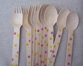 20 Pink Lemonade Polka Dots Spoons & Forks      Party Cutlery