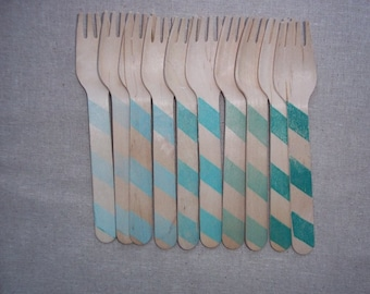 20 Aqua Blue Ombre Stripes Wooden Spoons or Forks  Party Cutlery