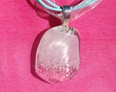 White and Clear Fused Glass Pendant Necklace