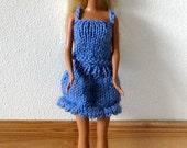 Light blue Barbie tank top and skirt set handknit ooak