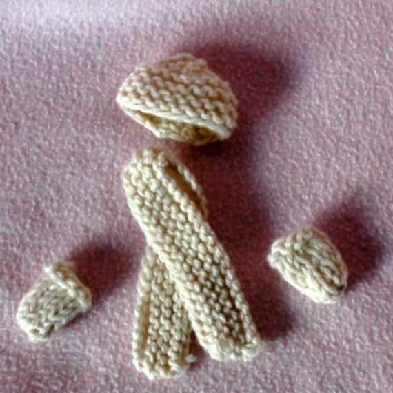 White Barbie Hat, Mitten, and Scarf set handmade handknit natural