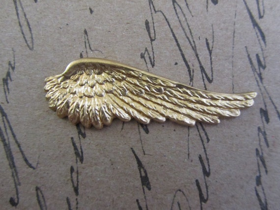 Angel Wing Brass Stamping (left) QTY 1 - (A14056)