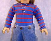 1970's Bodysuit and Jeans, Royal Blue, made to fit 18 inch dolls