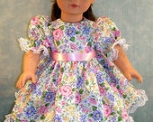 Purple, Pink and Yellow Floral Dress, made to fit 18 inch dolls