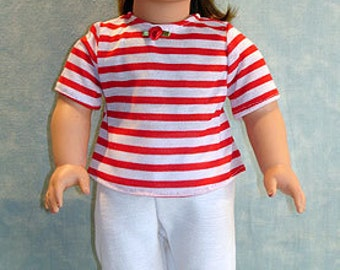 Capris Set, Red and White Stripe made to fit 18 inch dolls