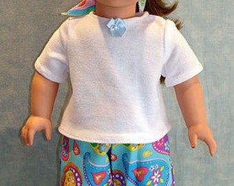 Blue Paisley Pants Set made to fit 18 inch dolls