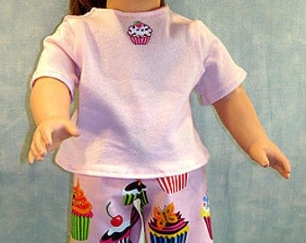 Chocolate Cherry Cupcakes Shorts Set made to fit 18 inch dolls