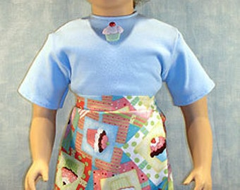 Cupcakes in Squares Skorts Outfit made to fit 23 inch dolls