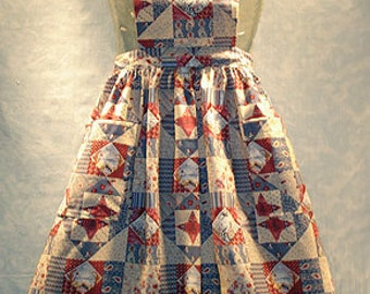 1776 Patriotic 4th of July Bib Apron, Gathered Waist