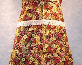 Burgandy and Yellow Floral Bib Apron