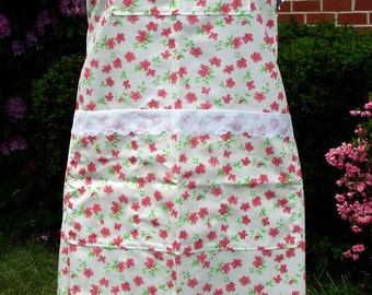 White and Red Floral Bib Apron