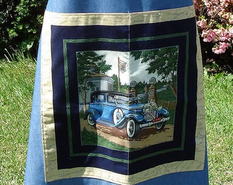 Denim Vintage Cars Bib Apron, Blue, Mens