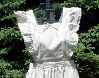 Unbleached Muslin Ruffled Pinafore Apron, Misses Size
