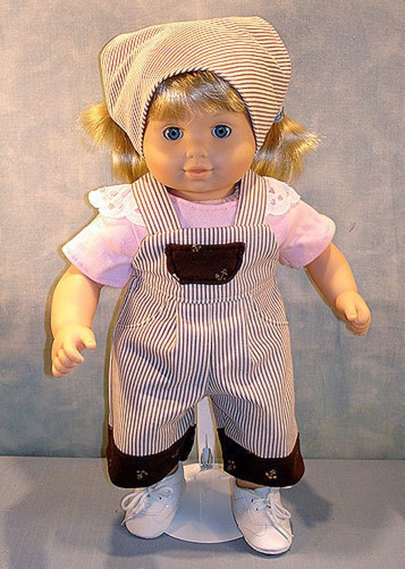 Nautical Overalls Girl Outfit made to fit 15 inch baby dolls