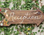 Handpainted Arrow Reception Sign