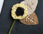 Fabric Flower and Leaf Boutineer