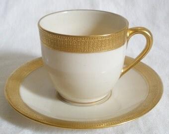 Lenox semi demitasse cup & saucer gilded decorating pattern