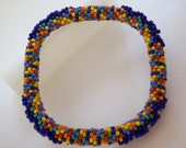 Yellow Red Green Blue Orange Multi Colored Seed Beads Square Bangle Crochet Navy Blue Seed Bead Jewelry Bracelet