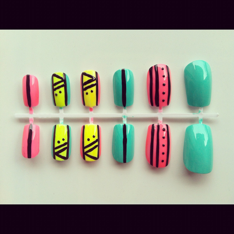 Neon tribal print nail...