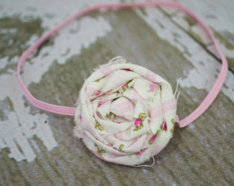 Cream with Pink Flower Fabric Rolled Rose Flower Headband, Newborn Headband, Infant Headband,  Newborn Photo Prop