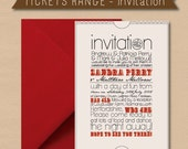 25 x Vintage Ticket Wedding Invitation with Envelope - Choice of Ink and Envelope Colour