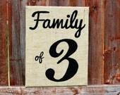 Burlap Sign: Family of 3, Painted Burlap Art, 11x14