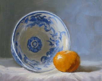 """Blue & Tangerine, 7"""" x 7"""", print of original oil painting mounted on light weight board"""