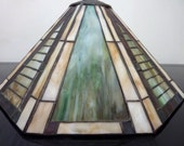 Tiffany-Style Glass Lampshade, Vintage Stained Glass with Metal Dome Top