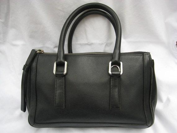 Vintage COACH Black Leather Bonnie Satchel Handbag 9421