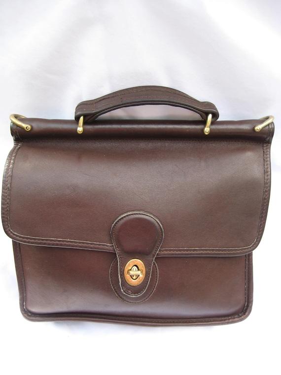 Vintage COACH Large Mahogany Brown Leather Willis Handbag 9927