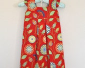 Toddler Dress Back to School Dress  Michael Miller Multi Colors on Red Background