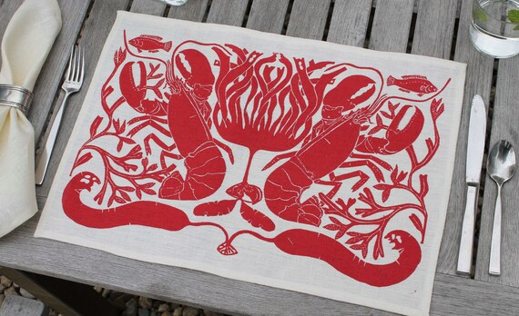 """Set of 4 Linen """"Lobsters"""" placemats"""