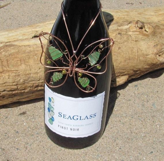Butterfly sea glass wine bottle necklace suncatcher bottle decoration - wine hostess gift - beach