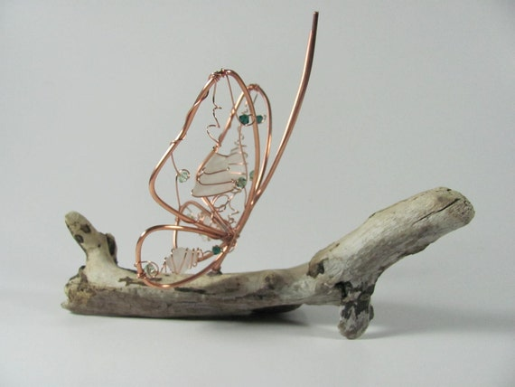 Copper wire butterfly sea glass natural driftwood sculpture art decoration Swarovski crystal upcycled home decor