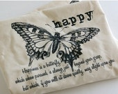 SALE Butterfly Tote Bag : HAPPY (14 x 14, Double Handled Tote on SALE)