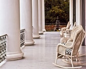 Signed Original Archival Quality Fine Art Print. Sunlight And Wicker Chairs Fill The Front Porch Of A Plantation Porch. rocking chairs