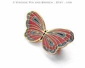 boho chic jewelry - butterfly brooch - glitter enamel pin - 90s kitsch jewelry