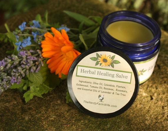 All Purpose Herbal Healing Salve - 2 ounce cobalt glass jar