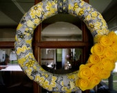 Kourtney Wreath: Yellow, Grey, and White Flowered Fabric Wreath- 14 inches