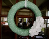 Tulip Wreath: Mint Green and White Fabric Wreath- 14 inches
