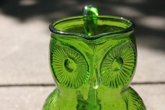Leafy Green Glass Owl Pitcher