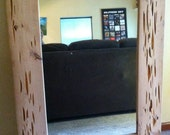 """Natural """"Wormy"""" Wood Wall Mirror"""