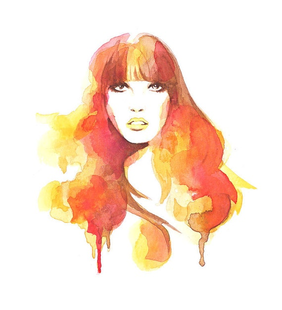 Orange Watercolor fashion art Mod Glamour A4 or 8 x 10